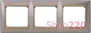 Рамка 3 поста, титан / золотой штрих, 770363 Legrand Valena