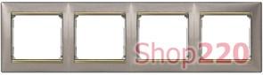 Рамка 4 поста, титан / золотой штрих, 770364 Legrand Valena