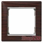 Рамка 1 пост, темное дерево/серебряный штрих 770371 Legrand Valena