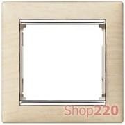 Рамка 1 пост, светлое дерево/серебряный штрих 770381 Legrand Valena