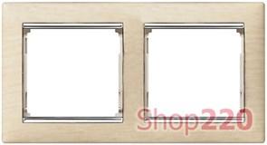 Рамка 2 постa, светлое дерево/серебряный штрих 770382 Legrand Valena