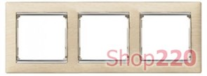 Рамка 3 постa, светлое дерево/серебряный штрих 770383 Legrand Valena