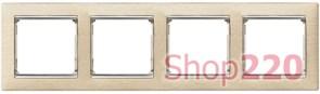 Рамка 4 постa, светлое дерево/серебряный штрих 770384 Legrand Valena