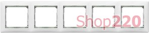 Рамка 5 постов, белый/кристалл, 774465 Legrand Valena
