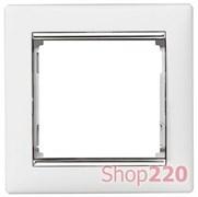 Рамка 1 пост, белый/серебряный штрих 770491 Legrand Valena