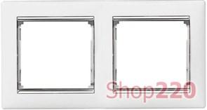 Рамка 2 поста, белый/серебряный штрих 770492 Legrand Valena