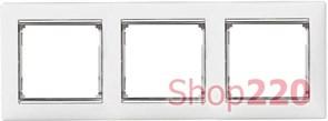 Рамка 3 поста, белый/серебряный штрих 770493 Legrand Valena