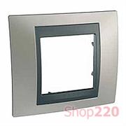 Рамка 1 пост, никель матовый, Unica MGU66.002.239 Schneider