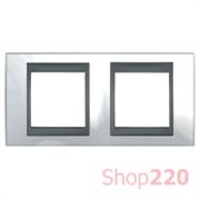 Рамка 2 поста, белоснежный, Unica MGU66.004.292 Schneider