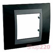 Рамка 1 пост, черный родий, Unica MGU66.002.293 Schneider