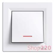 Выключатель одноклавишный с подсветкой, белый, EPH1400121 Schneider Asfora