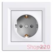Розетка с заземлением и защитными шторками, белый, EPH2900221 Schneider Asfora