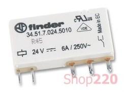 Ультратонкое реле 24 В для монтажа на печатную плату, постоянный ток, 345170240010 Finder
