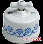 Выключатель белый с синим декором, накладной, 30306110 Fontini