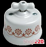 Выключатель белый с коричневым декором, накладной, 30306130 Fontini