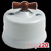 Выключатель белый с коричневой ручкой, 30306180 Fontini