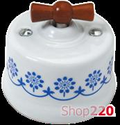Выключатель белый с коричневой ручкой, синий декор, 30306120 Fontini