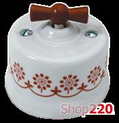 Выключатель белый с деревяной ручкой, коричневый декор, 30306140 Fontini