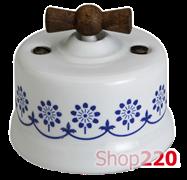 """Выключатель белый с ручкой """"старое дерево"""", синий декор, 30306230 Fontini"""