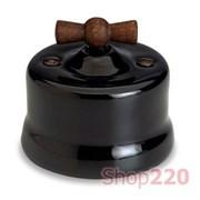Выключатель керамика с деревянной ручкой, черный, Garby Fontini 30306290
