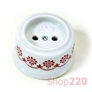 Розетка без заземления, керамика, коричневый декор, Garby 30205130 Fontini