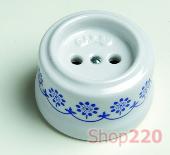 Розетка без заземления, пластик, синий декор, Garby 30209110 Fontini