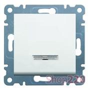 Выключатель одноклавишный с подсветкой, белый, Lumina-2 WL0210 Hager