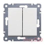 Выключатель проходной двухклавишный, белый, Lumina-2 WL0050 Hager
