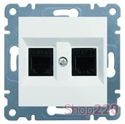 Розетка телефонная двойная RJ-12, белый, Lumina-2 WL2320 Hager