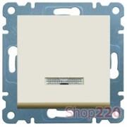 Выключатель проходной с подсветкой, кремовый, Lumina-2 WL0221 Hager