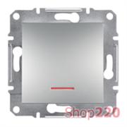 Переключатель одноклавишный с подсветкой, алюминий, EPH1500161 Asfora Schneider