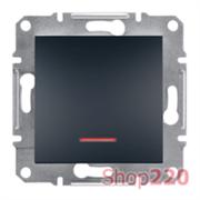 Переключатель одноклавишный с подсветкой, антрацит, EPH1500171 Asfora Schneider