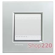 Рамка прямоугольная, 1 пост, цвет Серебро