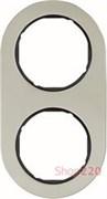 Рамка 2 поста, нержавеющая сталь/черный, R.Classic Berker