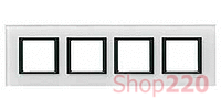Рамка Unica class 4-П, белое стекло MGU68.008.7C2 Schneider Unica