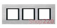 Рамка Unica class 3-П, серебряный алюминий MGU68.006.7A1 Schneider Unica
