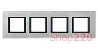 Рамка Unica class 4-П, серебряный алюминий MGU68.008.7A1 Schneider Unica