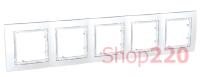 Рамка 5-на, белая, MGU4.010.18 Schneider Unica