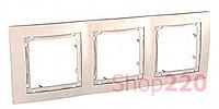Рамка 3-на, слоновая кость, MGU4.006.25 Schneider Unica
