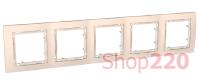 Рамка 5-на, слоновая кость, MGU4.010.25 Schneider Unica