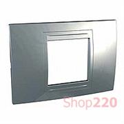 Рамка 2-мод., серебро MGU4.102.60 Schneider Unica