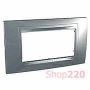Рамка 4-мод., серебро MGU4.104.60 Schneider Unica