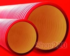 Труба гофрированная двустенная 125 мм, с протяжкой и муфтой, бухта 50м