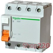 Дифференциальный выключатель (УЗО) 40A 30мА, 4 полюса, 11463 Schneider Electric