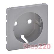 Лицевая панель розетки с заземлением, алюминий, Valena 755202 Legrand