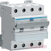 Трехфазный дифференциальный автомат 10 А, 300мА, тип Hi, AFH460H Hager