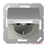 Розетка электрическая с крышкой (механизм) алюминий, Jung Eco Profi EP421KLAL