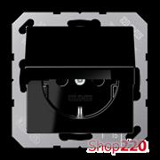 Розетка электрическая с крышкой (механизм), черный, Jung A500 A1520KLSW
