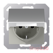 Розетка электрическая с крышкой (механизм), алюминий, Jung A500 A1520BFKLAL