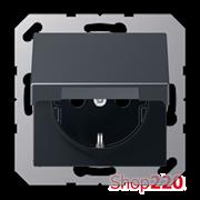Розетка электрическая с крышкой (механизм), антрацит матт, Jung A500 A1520BFKLANM